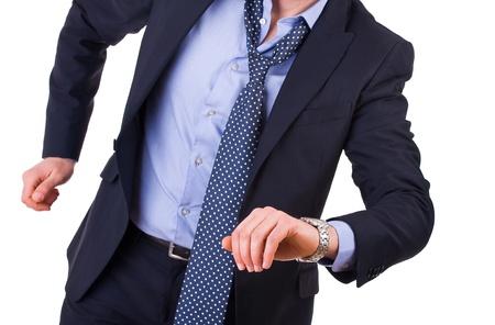 haste: Businessman running late  Stock Photo
