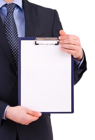 Imprenditore detiene un clipboard. Archivio Fotografico