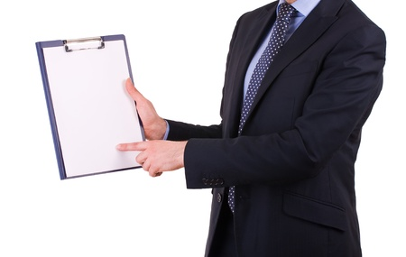 Businessman showing clipboard  photo