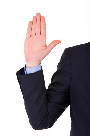 Businessman taking oath