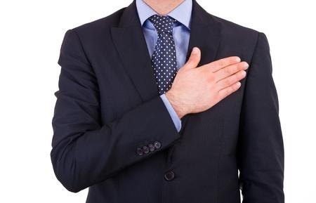honestidad: Hombre de negocios que toma juramento