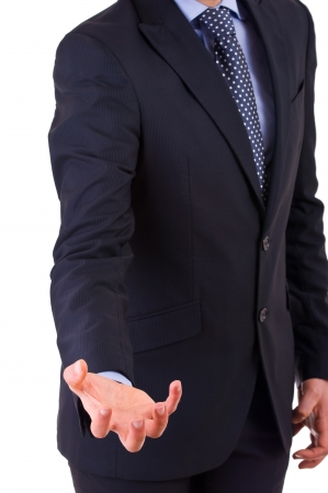powerfully: Businessman gesturing with hand