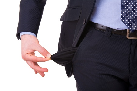 Businessman with empty pocket. photo