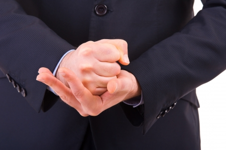 decisive: Businessman gesturing with both hands. Stock Photo