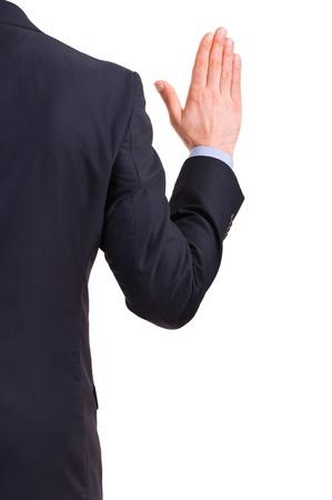 allegiance: Businessman taking oath. Stock Photo