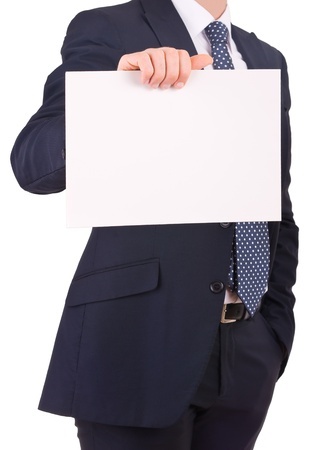 Business man showing blank sign. photo