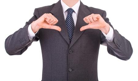 Uomo d'affari che indica se stesso.