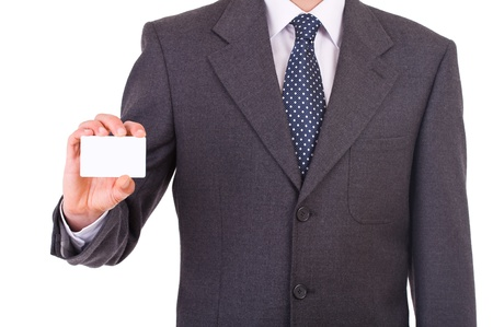 publicist: Business man showing blank card.