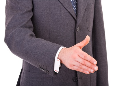Businessman with greeting hand  photo