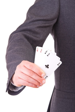 Businessman showing playing cards  photo