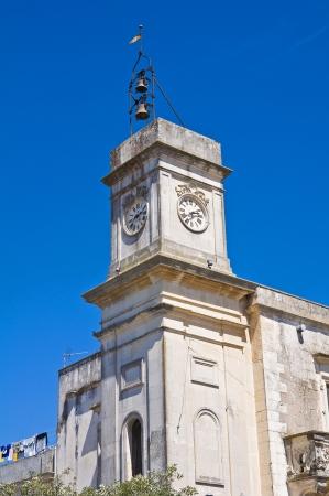 clocktower: Clocktower. Palmariggi. Puglia. Italy.  Stock Photo