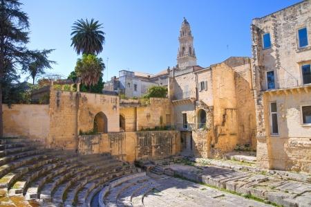 Il teatro romano di Lecce Puglia Italia Archivio Fotografico