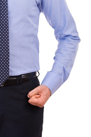 aggressively: Businessman with clenched fist