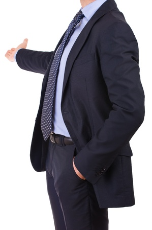 Business man with welcoming gesture. photo
