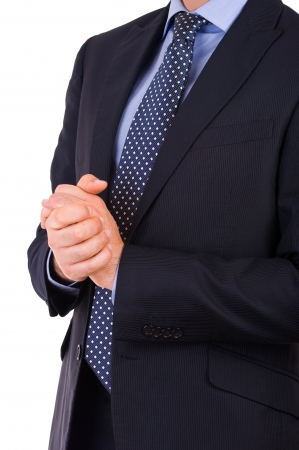 clench: Businessman gesturing with both hands