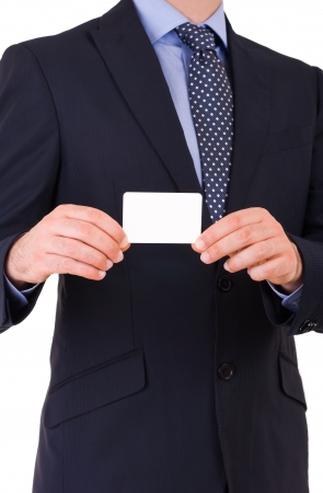 businesscard: Business man showing blank card