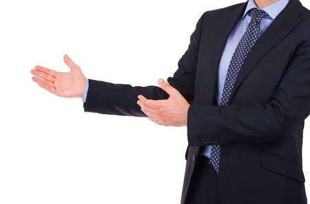 Business man with welcoming gesture  photo