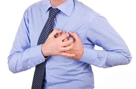 ataque al corazón: Hombre de negocios con un ataque al corazón. Foto de archivo