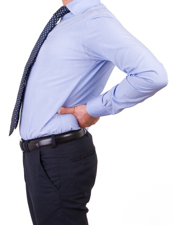 achy: Businessman with aching back.