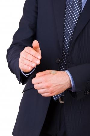 m�nzenwerfen: Gesch�ftsmann, der Kopf oder Zahl.