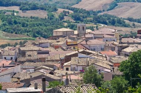 daunia: Panoramic view of Roseto Valfortore. Puglia. Italy.  Stock Photo