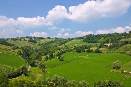 meadowland: Panoramic view of Torrechiara Emilia-Romagna, Italy. Stock Photo
