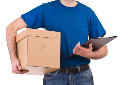 shipper: Delivery man hold a box and checklist