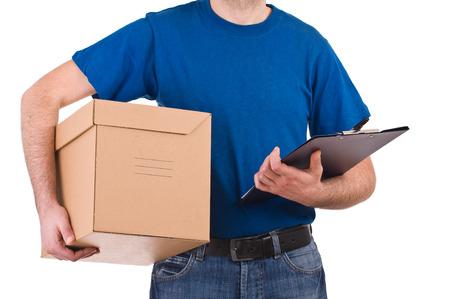 deliveryman: Uomo di consegna in possesso di un casella e checklist
