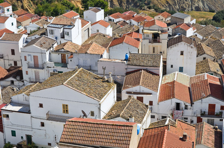 rooftile: Panoramic view of Pisticci  Basilicata  Italy   Stock Photo