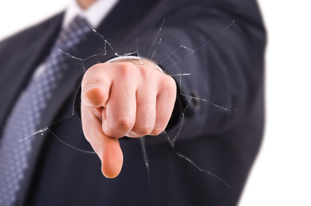 Businessman pointing with finger. photo