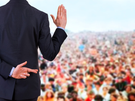 swearing: Businessman taking oath. Stock Photo