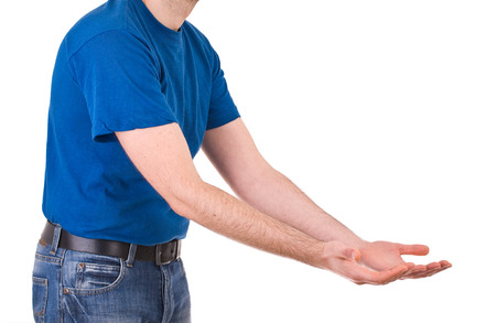 outstretching: Man showing empty hands. Stock Photo