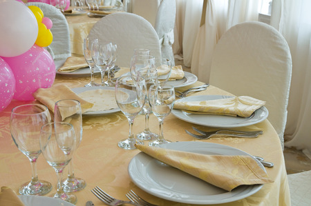 ceremonial: Table set for an event party.