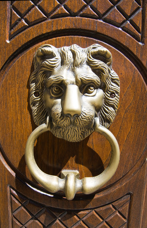 basilicata: Doorknocker Guardia Perticara Basilicata. Stock Photo