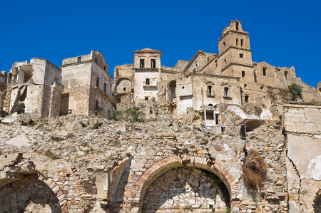 urbanistic: Panoramic view of Craco. Basilicata. Italy.