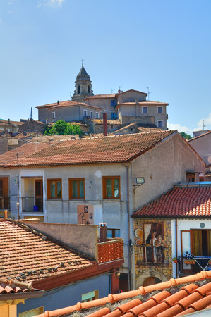 lucania: Panoramic view of Satriano di Lucania. Italy.