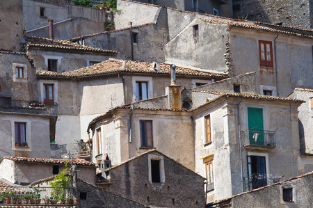 rooftile: Panoramic view of Morano Calabro. Calabria. Italy. Stock Photo