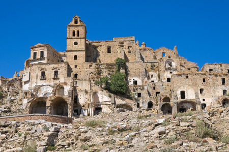 Panoramic view of Craco. Basilicata. Italy. photo