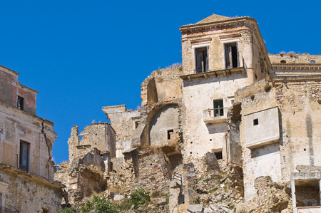 basilicata: Panoramic view of Craco. Basilicata. Italy.