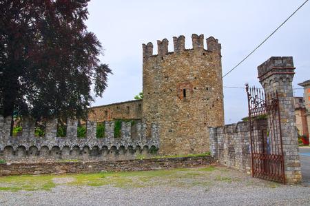 crenellated: Castle of Riva. Ponte dellOlio. Emilia-Romagna. Italy.