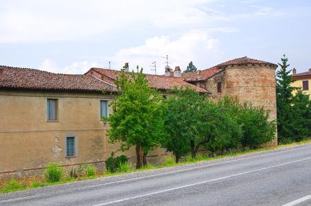 architectural architectonic: Castle of Folignano. Ponte dellOlio. Emilia-Romagna. Italy. Editorial