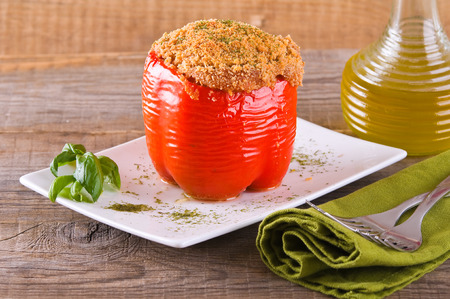 bell pepper: Stuffed bell pepper.