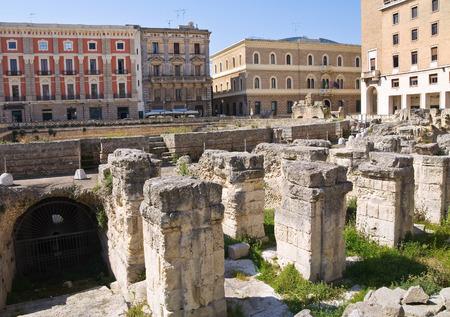 pilaster: Amphitheatre. Lecce. Puglia. Italy.
