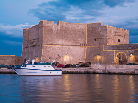monopolies: Panoramic view of Charles V Castle. Monopoli. Apulia. Italy. Stock Photo