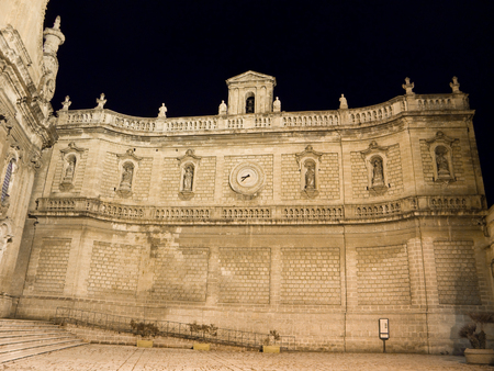 cubby: This is the Sustaining Wall of Monopoli by night. Apulia. Stock Photo