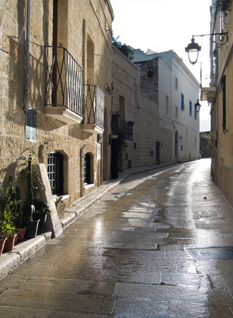 characteristic: This is a characteristic medieval alley of Monopoli in Apulia. Stock Photo