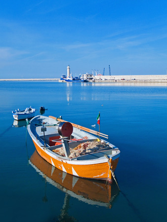 rowboats: This is a landscape view of Molfetta touristic port with rowboats. Stock Photo