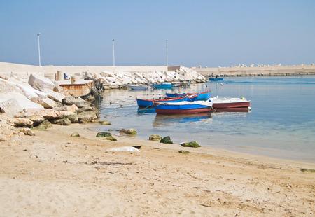 rowboats: Fishing boats moored at Giovinazzo beach. Stock Photo