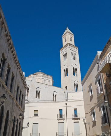 bari: Alleyway with Belltower Cathedral. Bari. Apulia. Stock Photo