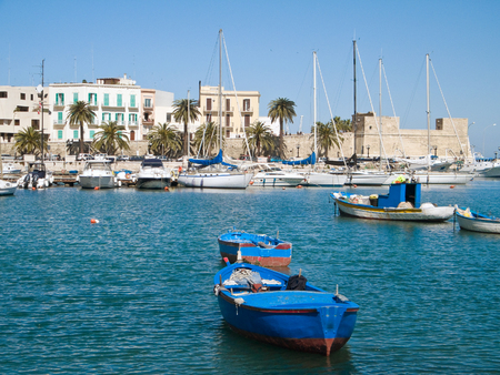 seafront: Boats at the old port of Bari. Apulia. Stock Photo